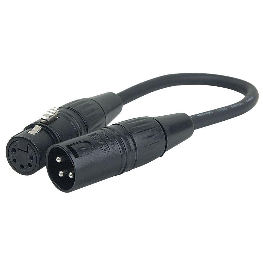 DAP-Audio - 3 pin XLR Male to 5 pin XLR Female - 25 cm