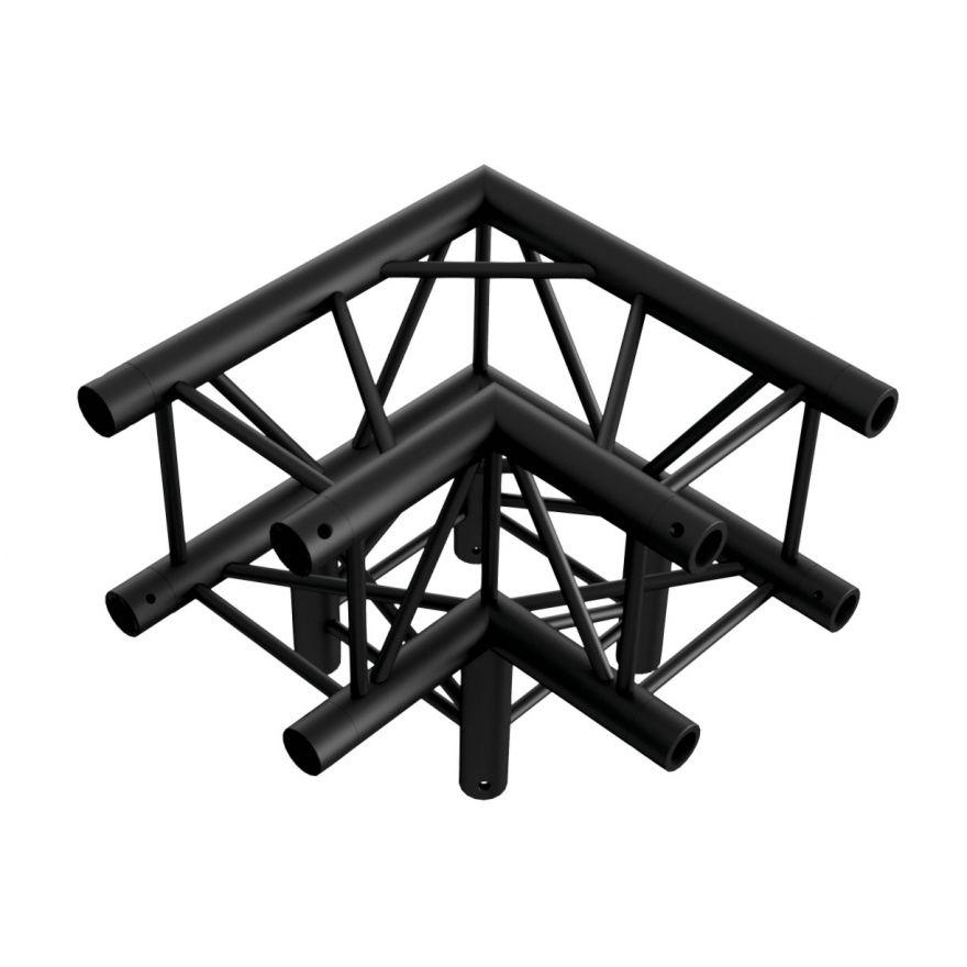 Showtec - Corner 3-way 90° - NERO, traliccio Pro-30 quadrato F