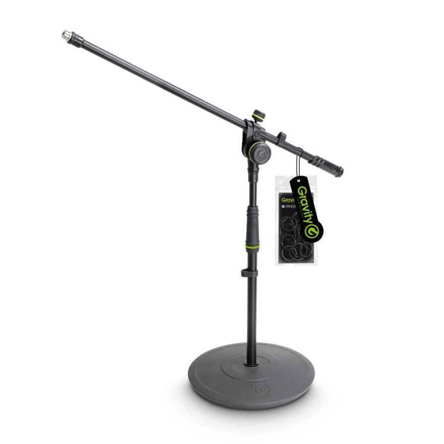 Gravity MS 2221 B - Asta microfonica corta con base tonda e portamicrofono a 2 punti