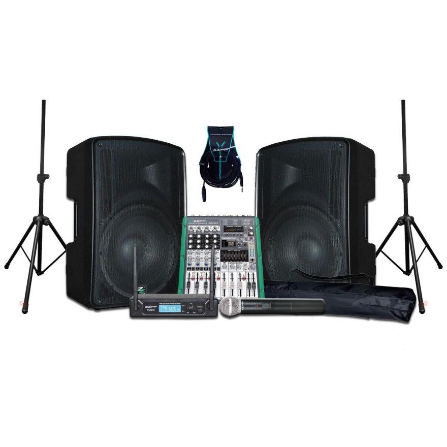 ZZIPP KIT KARAOKE Coppia Casse Attive 320W / Mixer 6 Canali con Effetti e Recording / Radiomicrofono Palmare VHF / Stativi / Cavi