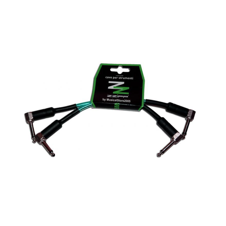 ZZIPP Cavi per Strumenti Jack Angolati 15 cm / verde trasparente /2pz