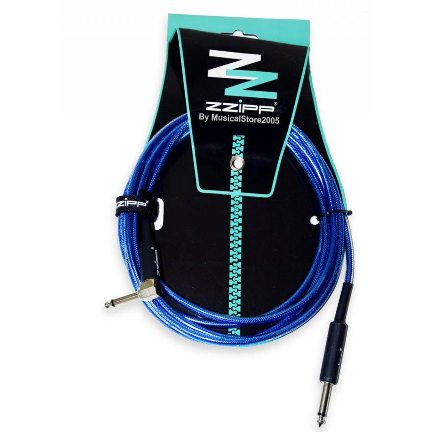 ZZIPP Cavo per Strumenti Jack Dritto/Angolato 3m / blu trasparente
