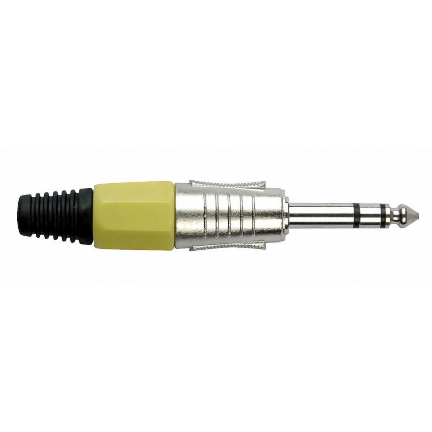 DAP-Audio - 6.3 mm Jackplug Stereo, Nickel housing - Cappuccio finale giallo