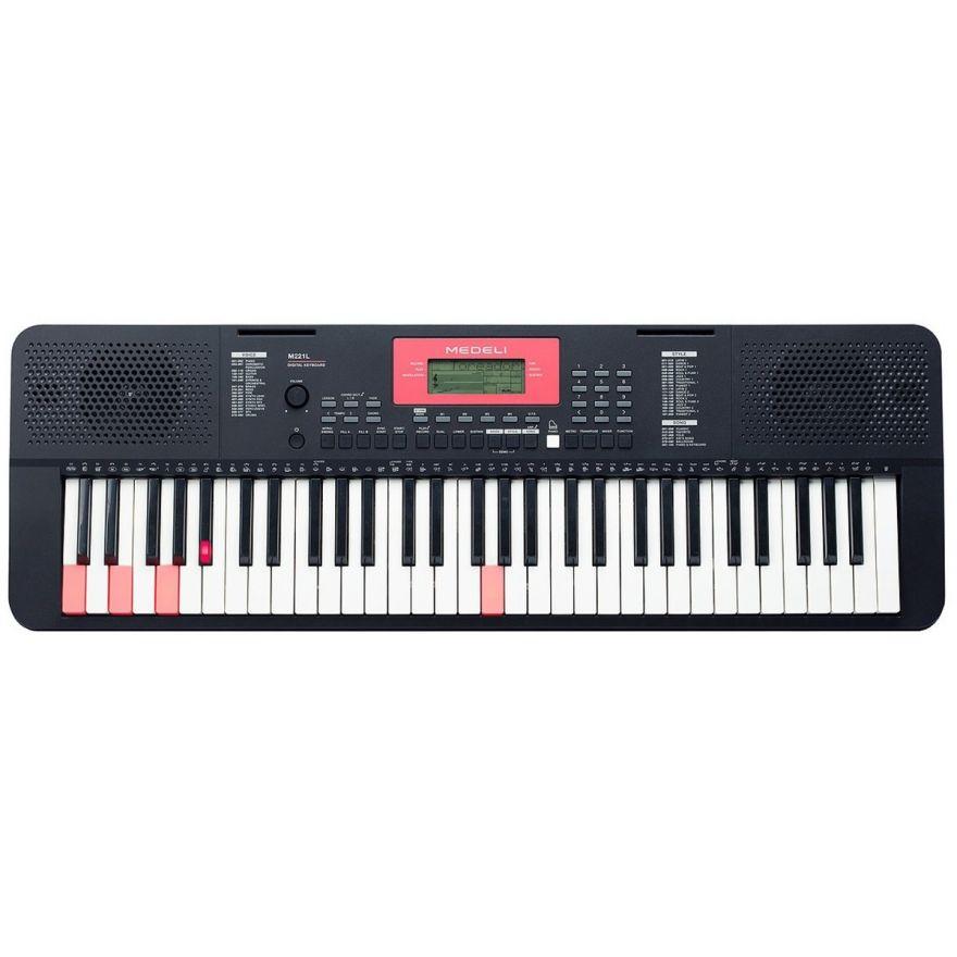"""0 MEDELI M221L - Tastiera Entry Level A 61 Tasti """"Touch Response"""" Con Sistema LED Di Illuminazione In Ogni Tasto Per L'apprendimento."""