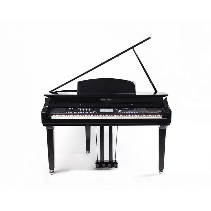 """0 MEDELI GRAND 1000 - Pianoforte Digitale A Coda Con Tastiera A 88 Tasti Hammer Action, Finitura In Nero Laccato E Display Con Touch Screen A Colori Ad Alta Definizione Da 7""""."""