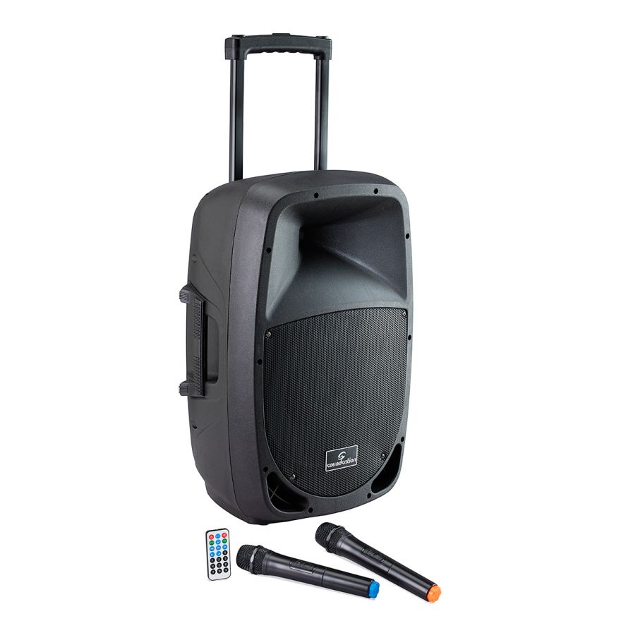 0 SOUNDSATION - Cassa Attiva a 2-vie Portatile a Batteria con Trolley e lettore MP3/Bluetooth™