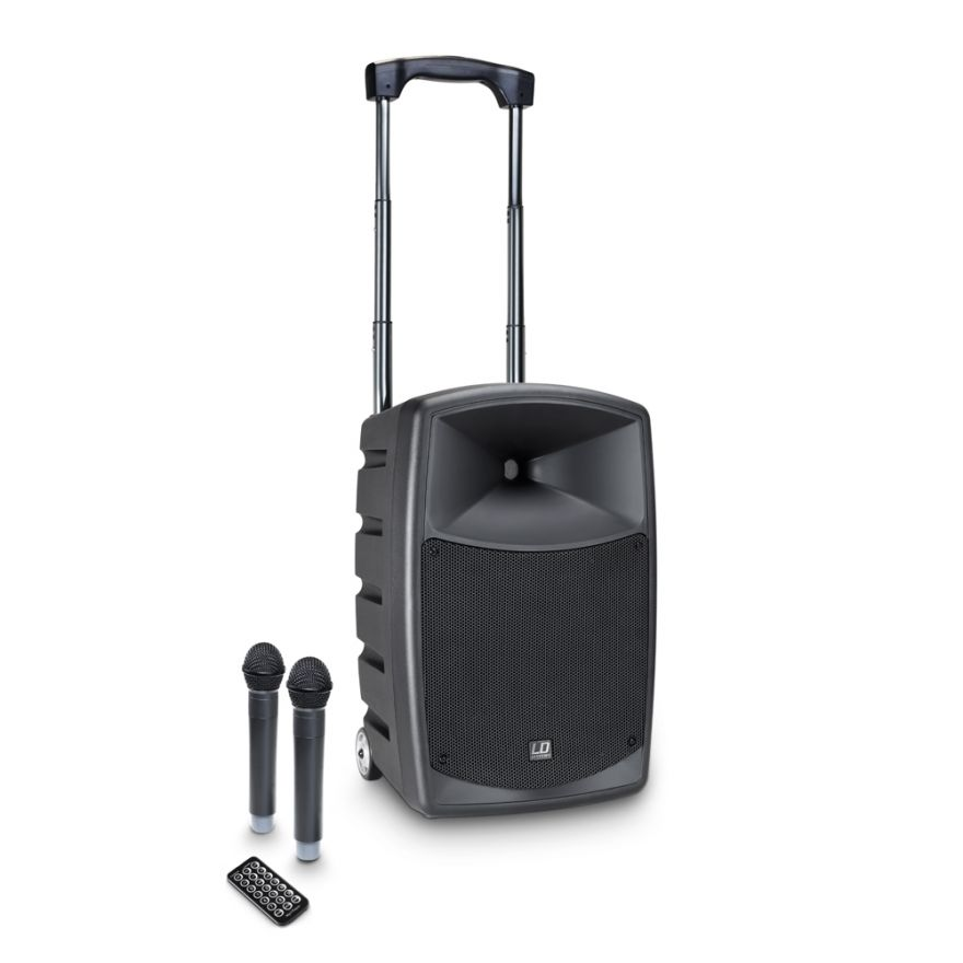 LD Systems ROADBUDDY 10 HHD 2 B5 - Battery-Powered Bluetooth Speaker with Mixer and 2 Wireless Microphones
