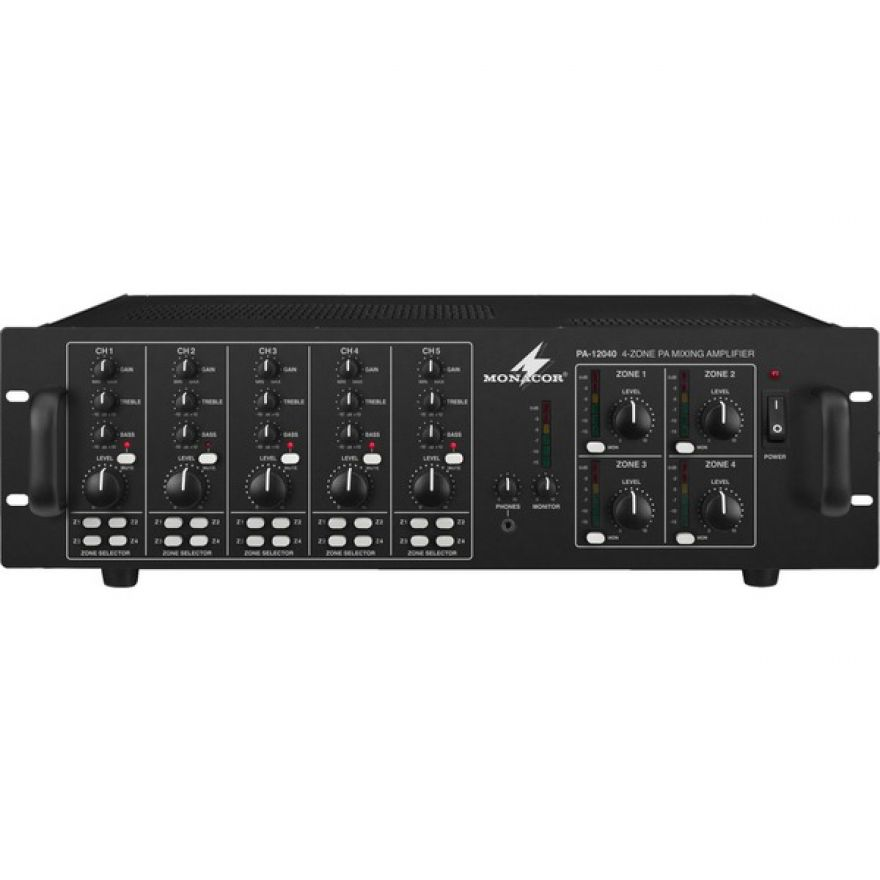 Monacor PA-12040 Mixer ampli 4 zone indipendenti 100v 4x120w