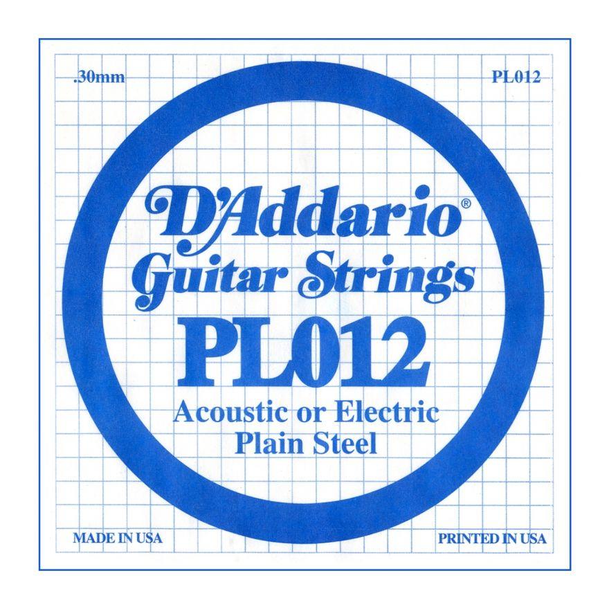 D'ADDARIO PL012 - Singola per Acustica o Elettrica Plain Steel (012)