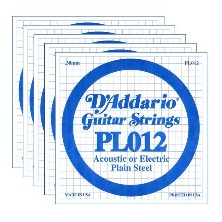 D'ADDARIO PL012 - Set di 5 Singole per Acustica o Elettrica Plain Steel (012)