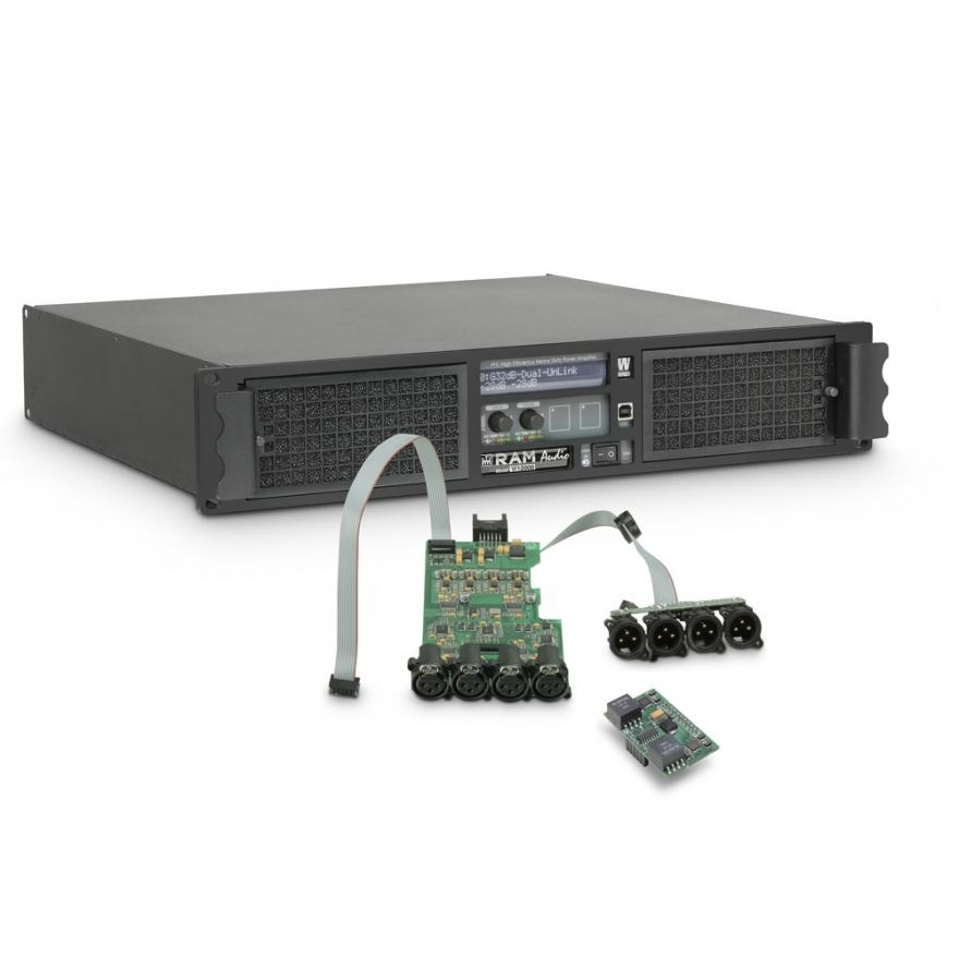 Ram Audio W 12004 DSP AES - Finale di potenza PA 4 x 3025 W 2 Ohm incl. modulo DSP con ingresso digitale AES/EBU
