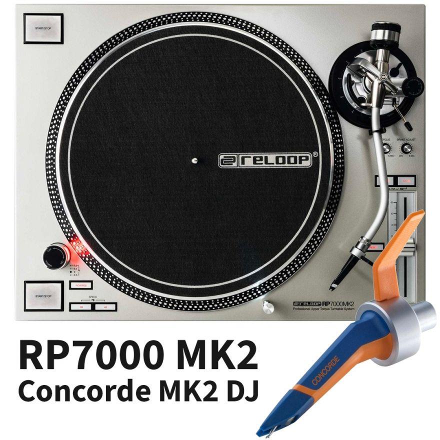 Giradischi per DJ Reloop RP7000MK2 Silver con Testina Completa Ortofon Concorde MKII DJ