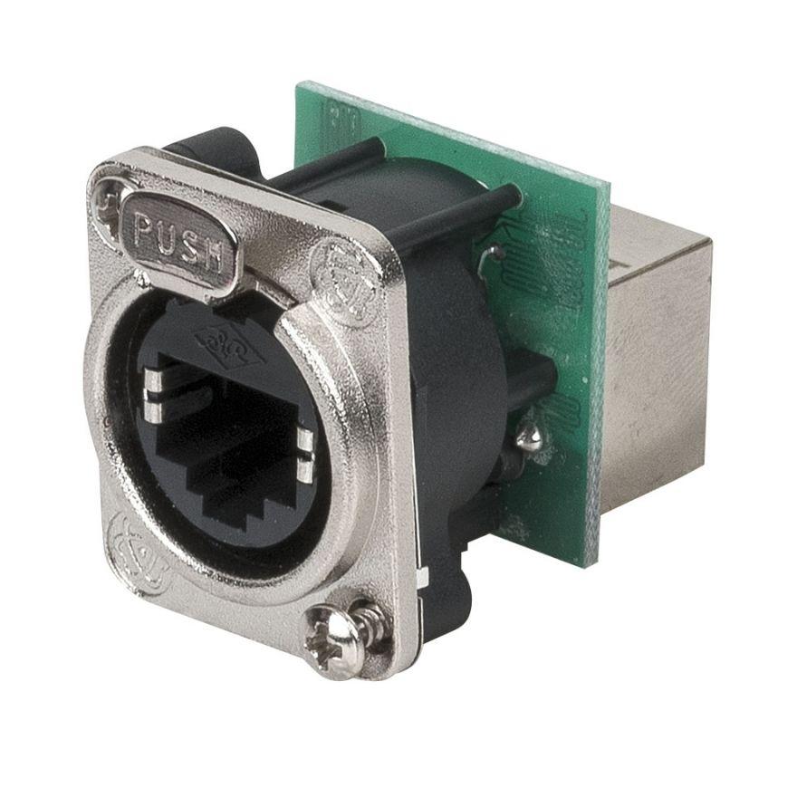 DAP-Audio - Ethernet RJ45 D-size chassis - Connettore passante in flangia metallica di tipo D con sistema di aggancio sicuro. Nichel