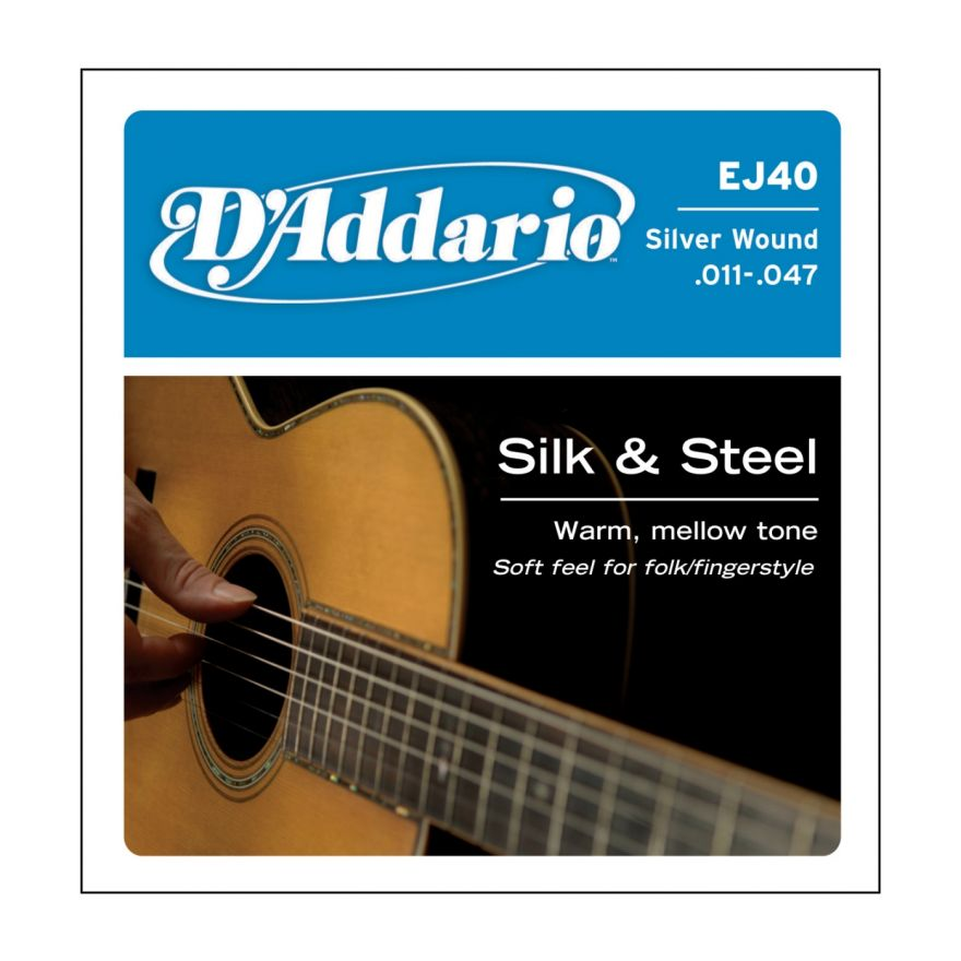 D'ADDARIO EJ40 SILK&STEEL - Muta per Chitarra Folk Light (011/047)
