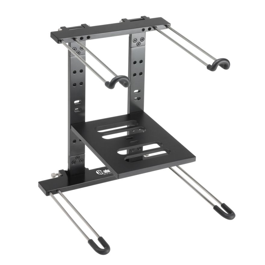 Adam Hall Stands SLT 006 B - Supporto per laptop pieghevole con superficie di appoggio nero