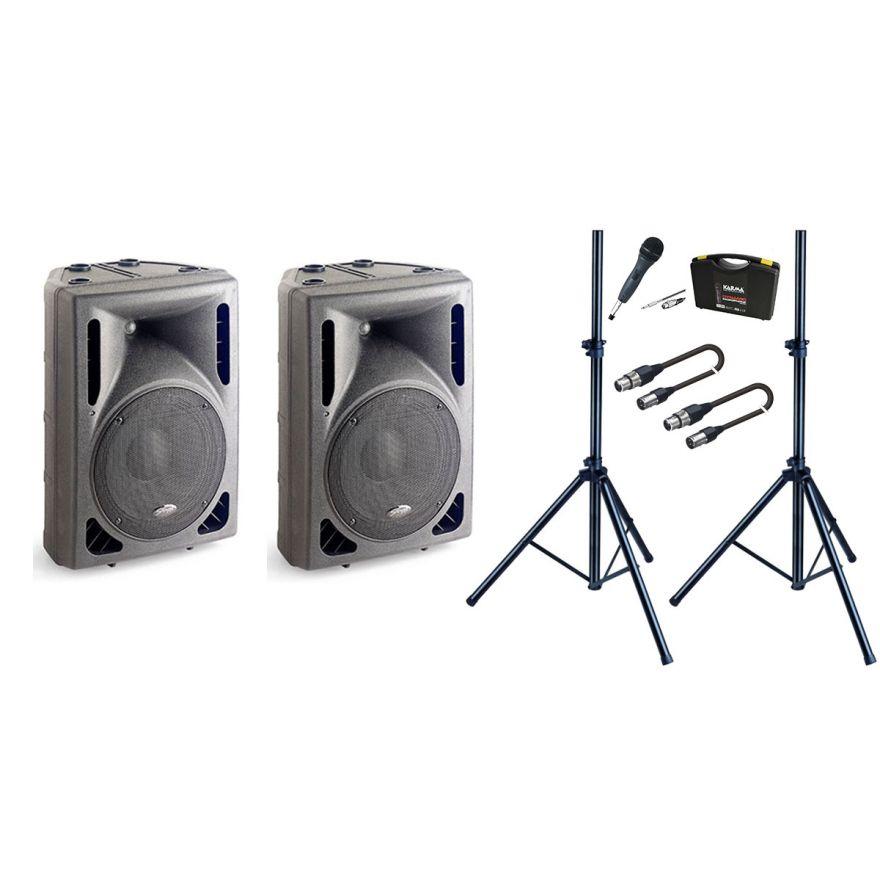 Bundle Casse Attive + Microfono + Supporti + Cavi XLR/XLR