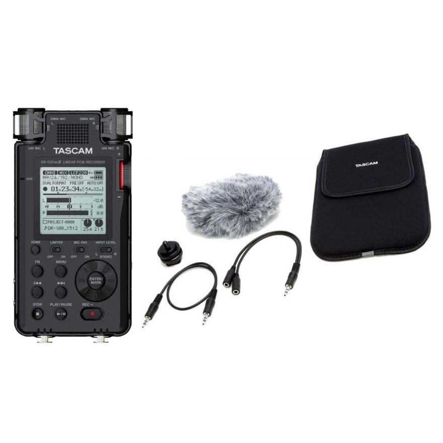 TASCAM DR100 MKIII Registratore Professionale Stereo con SD 128MB e Accessori PRO