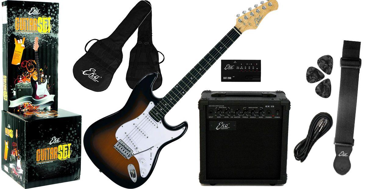 Eko eg pack sunburst chitarra elettrica kit co musical store