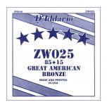 D'ADDARIO ZW025 - Singola per Acustica 85/15 Bronze (025)