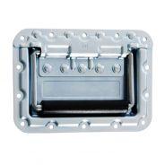 0 Adam Hall Hardware 34087 - Maniglia a Scomparsa grande a Molla in Piastra di Montaggio Profondità 9,5 mm con Protezione Rivetti