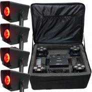 ZZIPP Set 4 Fari PAR LED RGBW 12W con Borsa per Ricarica e Trasporto