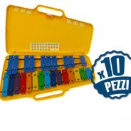 ANGEL AX25N3 - 10 Metallofoni 25 Piastre Colorate Bundle Speciale Scuola