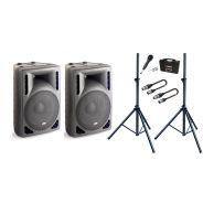 Impianto Audio Coppia Casse Attive + Microfono + Stativi + Cavi XLR/XLR 5mt