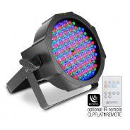 0 Cameo FLAT PAR RGB 10 IR - Proiettore PAR spot RGB PIATTO a 144 LED da 10 mm in alloggiamento nero con telecomando a infrarossi come opzione