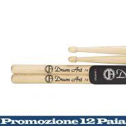 Drum Art 12 Coppie di Bacchette per Batteria Hickory 7A Punta a Ghianda
