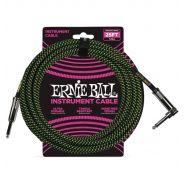 Ernie Ball Cavo per Strumenti Black/Neon Green 7.62mt