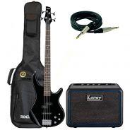 Ibanez GSR200 GIO Black con Amplificatore Laney MINI-BASS-NX, Cavo e Custodia