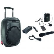 Ibiza PORT15VHF-MKII Stand-alone Portable Sound System 15 /38cm with USB-MP3, VOX, Bluetooth & 2 VHF Microphones