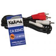 1 Karma CA 8204CI Cavo Audio RCA/RCA Nero 1,5mt (25 Pezzi)