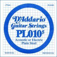 D'ADDARIO PL010-5 - Singola per Elettrica / Acustica Plain Steel (010)