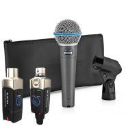 Shure Beta 58A con Adattatore Wireless per Microfoni Dinamici XVive U3