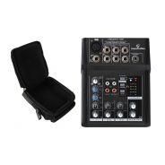 Mixer 3 canali e 7 ingressi ultracompatto per dj, live, karaoke con borsa imbottita in nylon deluxe compatibile con strumentazione di piccole dimensioni
