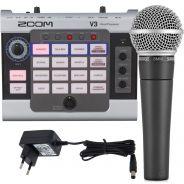 Zoom V3 Processore Vocale Usb con Shure SM58 Microfono e Alimentatore per Pedali
