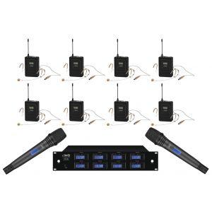 IMG Sistema Microfonico Wireless Professionale 1000 Canali UHF / 8 Headset / 2 Palmari