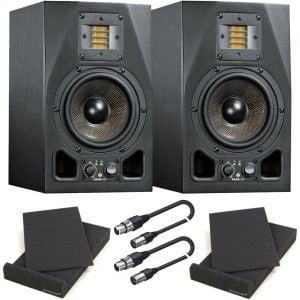 Adam A5X Coppia Monitor da Studio Attivi con Pad Isolante e Cavi XLR