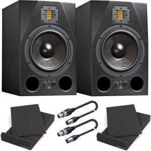 Adam A8X Coppia Monitor da Studio Attivi con Pad Isolante e Cavi XLR