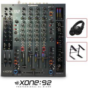 Allen & Heath Xone:92 Mixer Professionale per DJ con Cuffie Pioneer HDJ-X5BT Nere e Stand Laptop