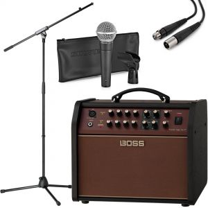 Boss Acoustic Singer Live LT con Shure SM58 Asta e Cavo XLR 15mt