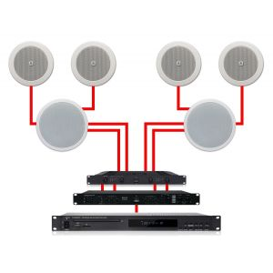 Apart Impianto Audio Incasso Dual Zone 280W per Filodiffusione