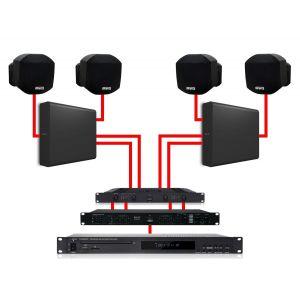 Apart Impianto Audio da Parete Nero Dual Zone 360W per Filodiffusione