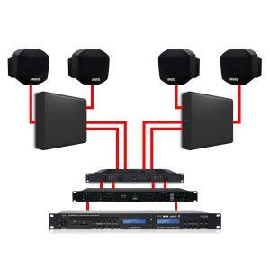 Apart Impianto Audio per Filodiffusione da Parete Nero Dual Zone 360W