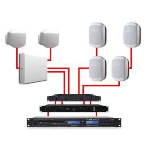 Apart Impianto Audio Completo Bianco 540W per Filodiffusione