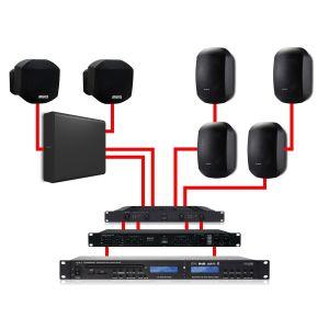 Apart Impianto Audio Filodiffusione Nero 540W da Parete