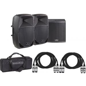 Soundsation Set Sistema Audio DJ Completo 2960W - Speaker Bi-amp/Sub/Cavi/Borsa