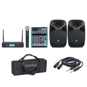 """Kit Completo Pro da 8"""" 220 W Impianto Audio Karaoke Dj"""