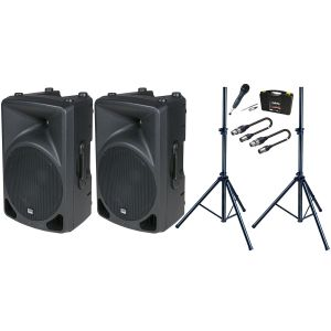 DAP Coppia SPLASH 15A Diffusori Biamplificati 800W / Microfono / Stativi / Cavi XLR/XLR Bundle